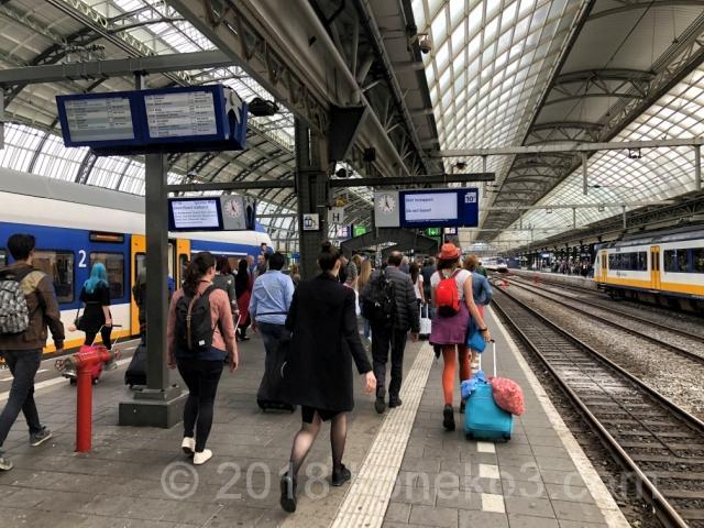 アムステルダム中央駅のプラットフォーム