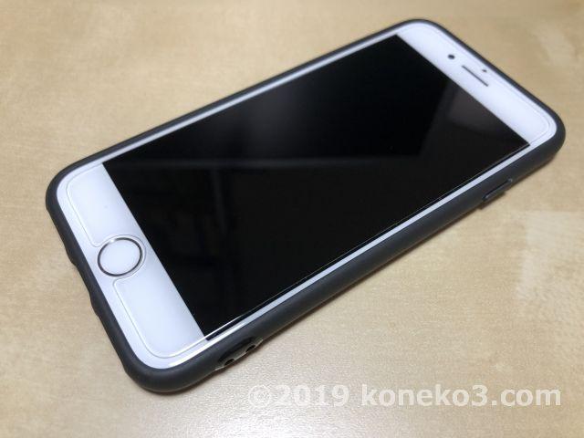 ケース取り付け後のiPhone7