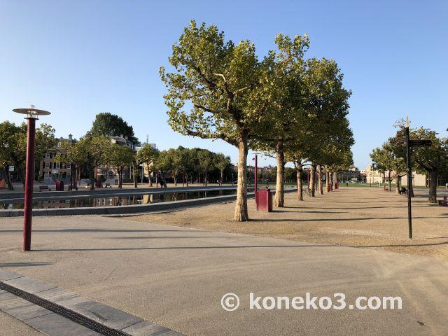 早朝のミュージアム広場