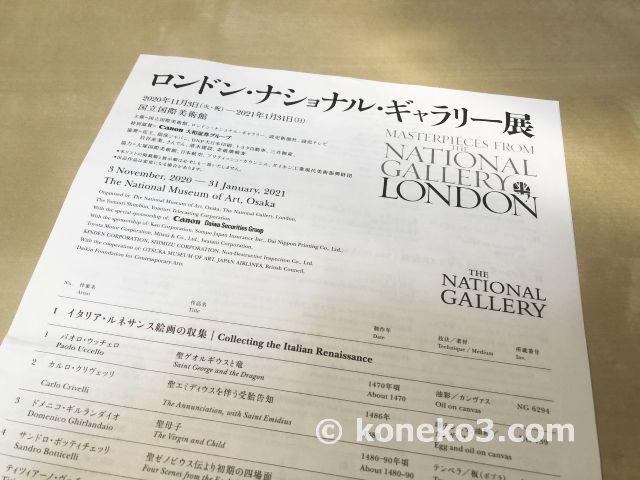 展示物の一覧表