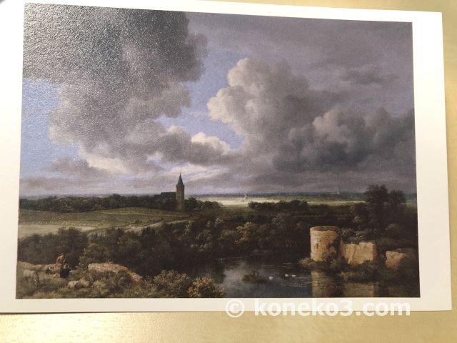 ロイスダールの城の廃墟と教会のある風景