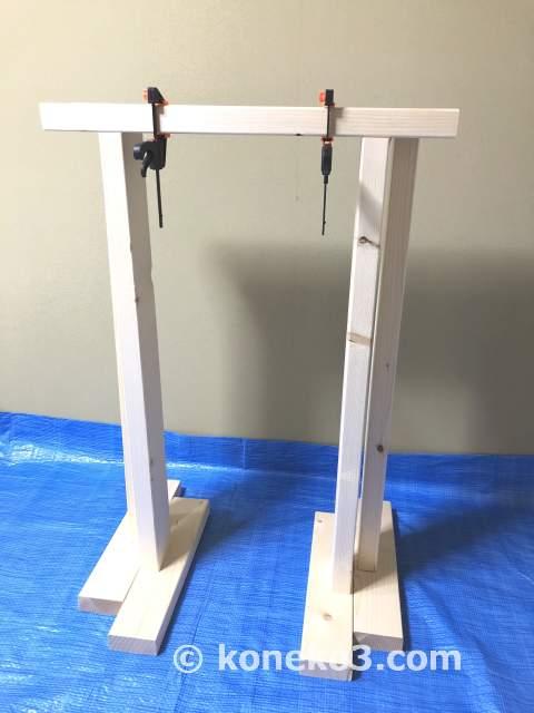 完成した簡易作業台(馬)