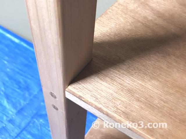 柱と棚板の接合部
