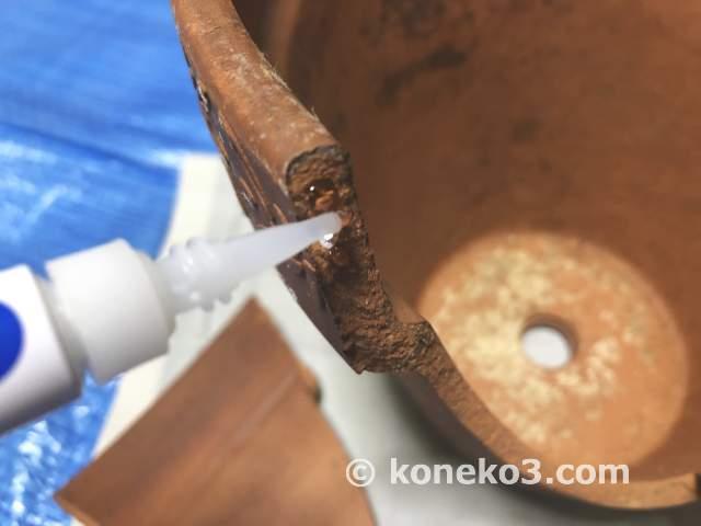 割れた陶器鉢の修復方法